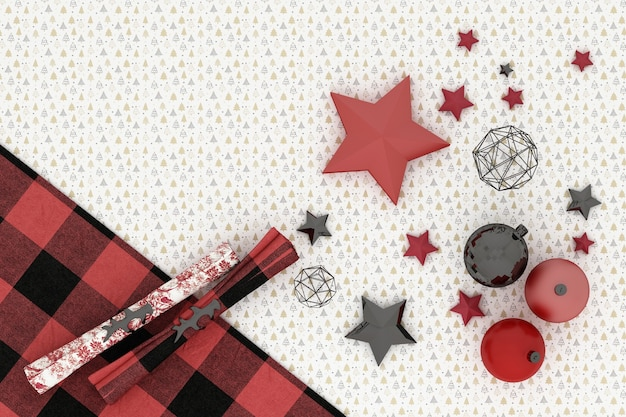 クリスマスフレーム。白い木のパターンの背景に赤、赤、黒のクリスマスの装飾