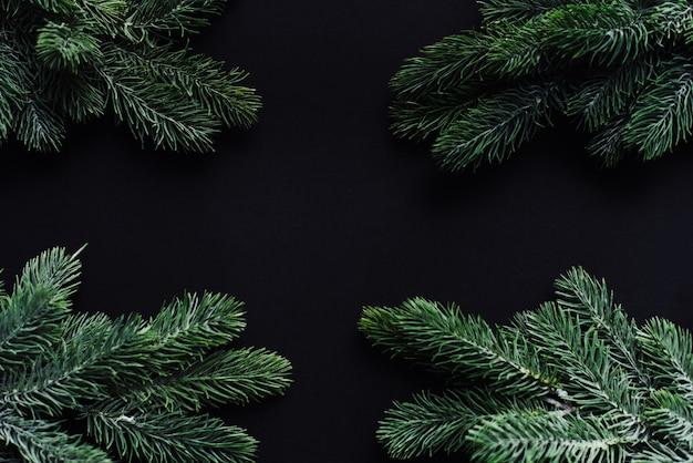 크리스마스 프레임. 검정색 배경에 크리스마스 트리 분기 사이의 텍스트를위한 공간.