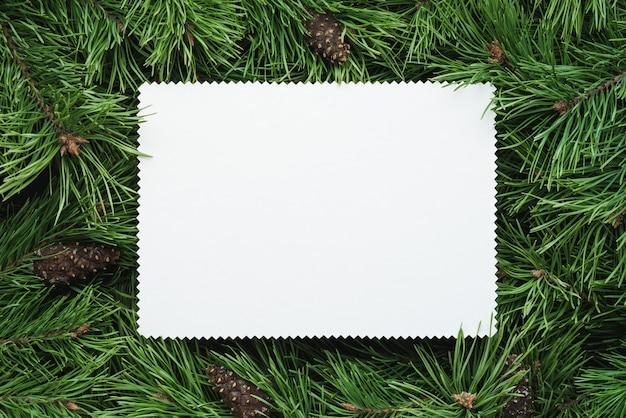 緑のモミの枝と白い紙のシートとクリスマスフレーム。テキスト用のスペースをコピーする
