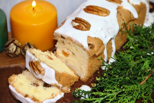 Christmas fruit budin with dried and glazed fruits and sweet ingredients