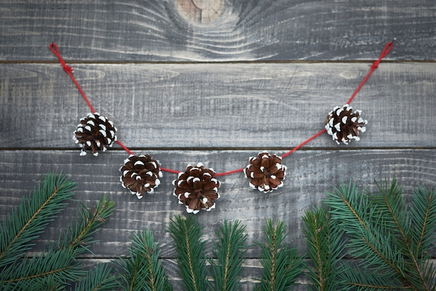 Christmas garland from the cones