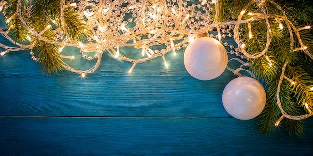 Christmas garland lights fame background
