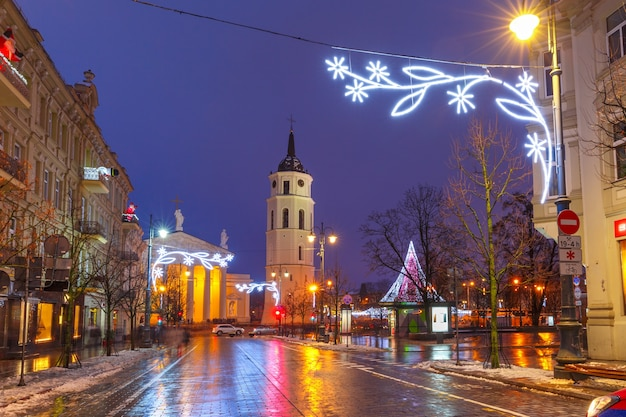 Christmas gediminas prospect and cathedral belfry, vilnius, lithuania, baltic states