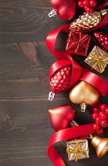 Christmas gift box and decoration background frame
