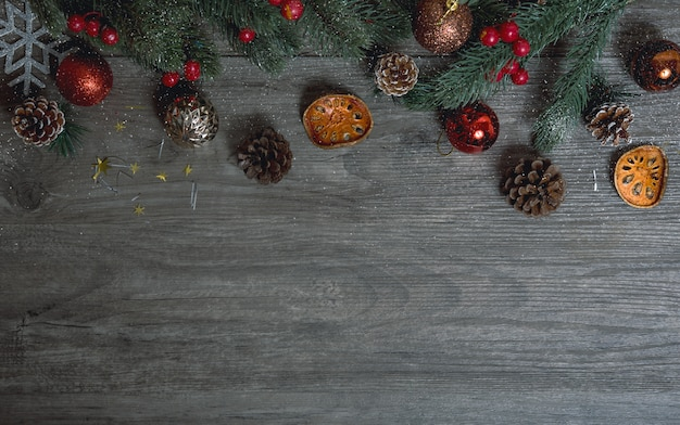Christmas gift box decoration on wood table background.