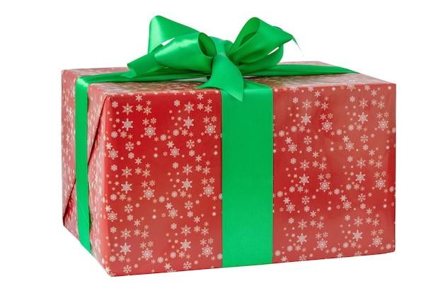 白い背景で隔離のクリスマスギフトボックス