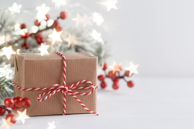 Christmas gift box and red holly berries