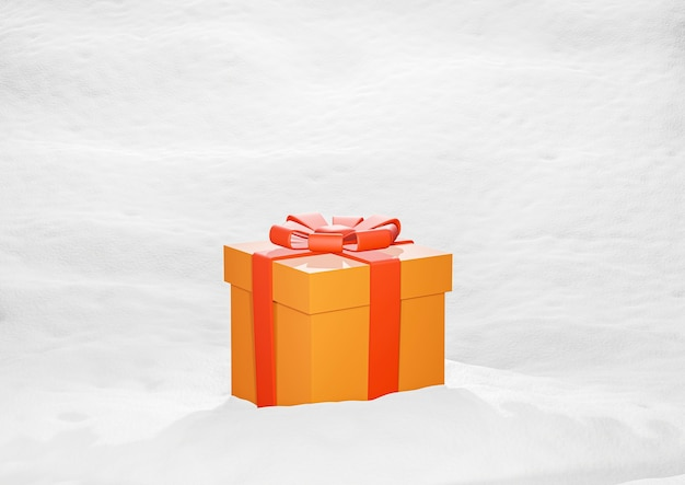 Christmas gift box on snowy background 3d rendering