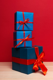 Christmas gift box on tablet