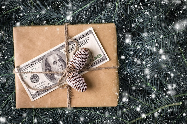 Christmas gift box with banknote of dollar.  christmas card
