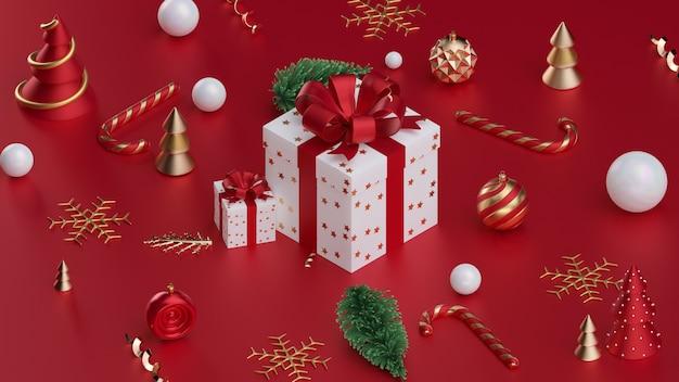 크리스마스 공 3d 렌더링 크리스마스 선물 상자