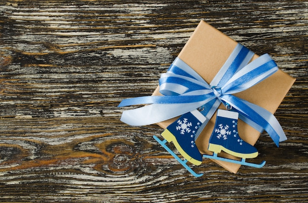 Christmas . gift box with decoration in blue color.