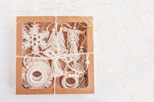 Christmas gift box with macrame decor christmas eco decorations hand made decor winter holiday