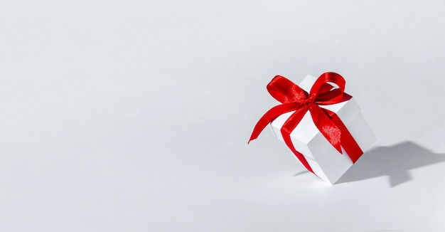 Christmas gift box with ribbon and copy space