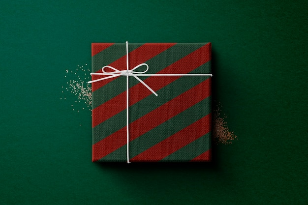 Christmas gift box wrapped in red and green paper