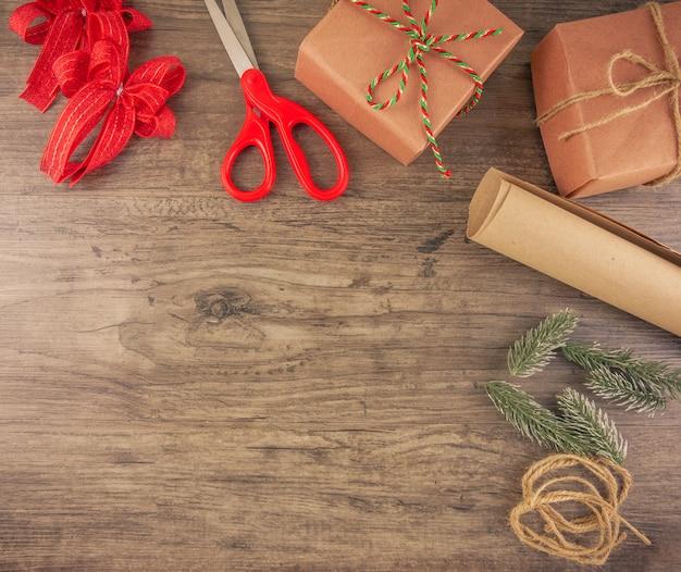 Christmas gift box and wrapping tools