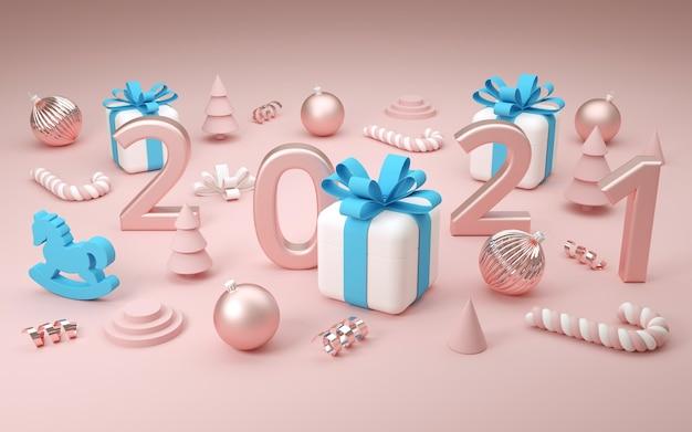 Рождественские подарочные коробки и украшение с номером 2021. 3d визуализация