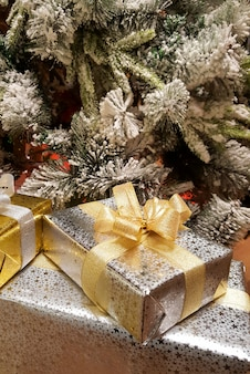 Christmas gift boxes under the christmas tree