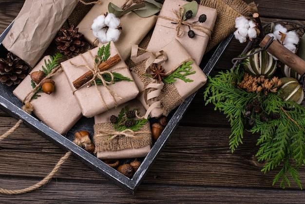 제로 폐기물 친환경 공예 종이 포장에 크리스마스 선물 상자