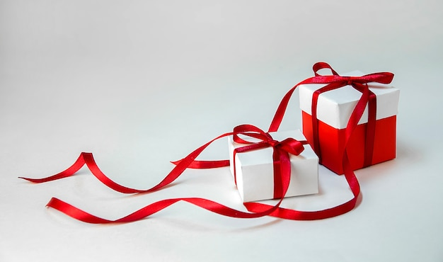 Christmas gift boxes isolated on white