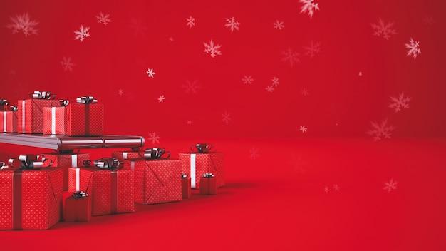 コンベアローラーのクリスマスギフトボックス