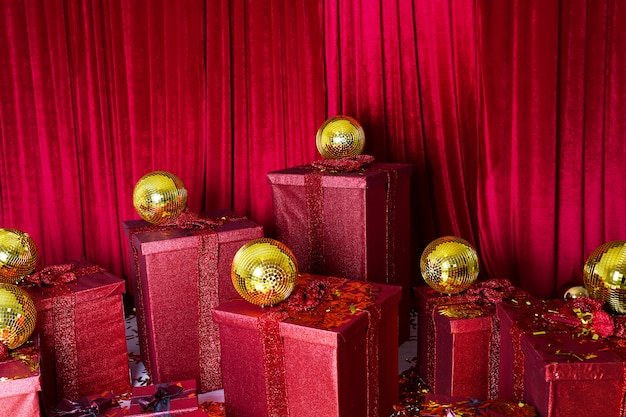 Christmas gift boxes with gold balls. top view with copy space.