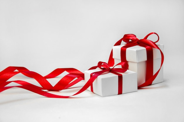 Christmas gift boxes with ribbon