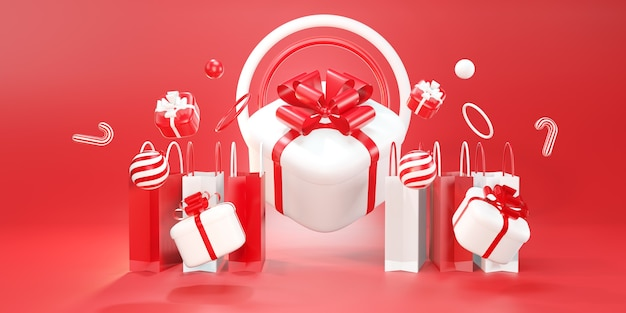 Christmas gift giving concept. happy new year, shopping online, 3d rendering