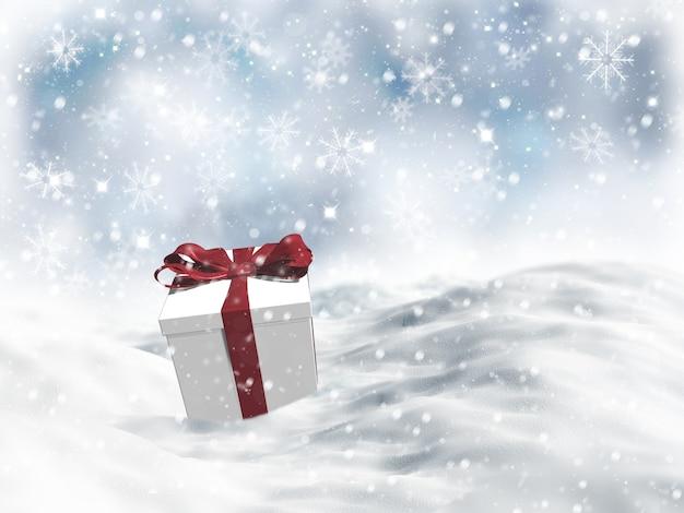 Christmas gift nestled in snow