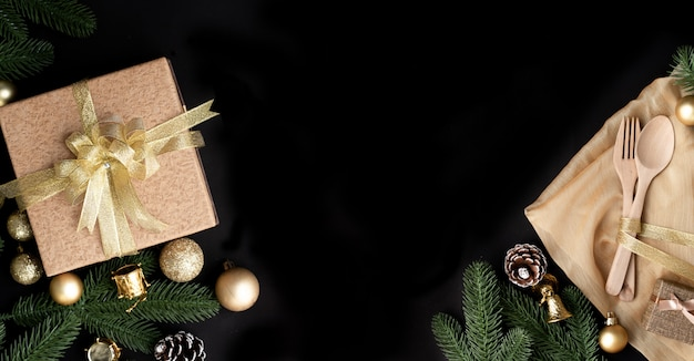 Christmas gift, present box and christmas decorations
