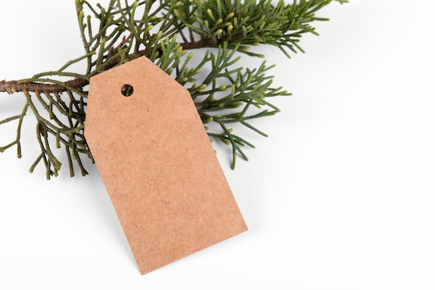 Christmas gift tag of craft paper present label and green fir branch on white background.