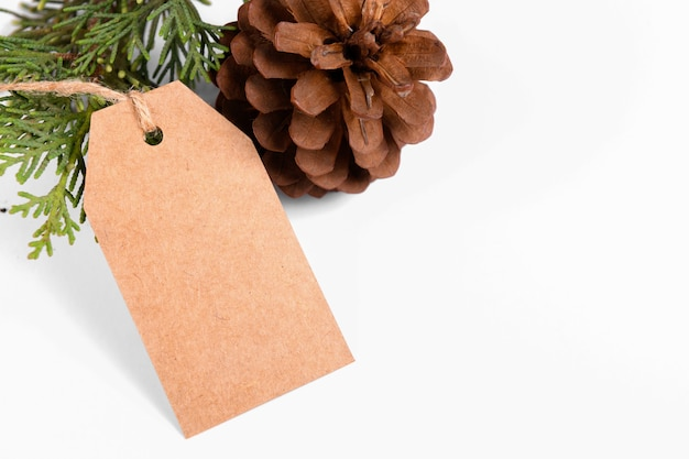 Christmas gift tag of craft paper present label with rope and green fir branch on white background.