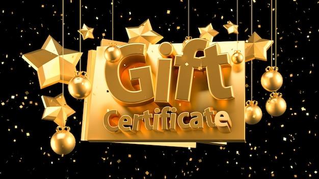 Рождественский подарочный сертификат. 3d иллюстрации, 3d рендеринг.