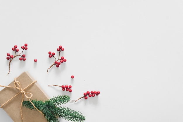 Christmas gift on white background with pine branches, berries and rope