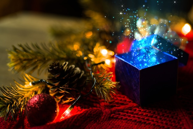 Christmas gift with blue lights magical
