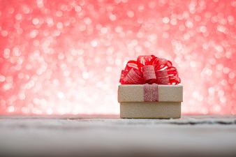 Christmas gift with blurred background
