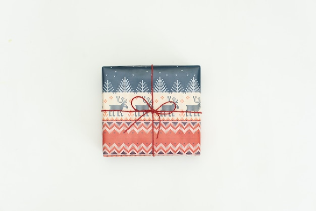 Christmas gift wrapped on white