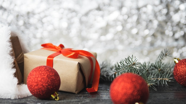 Christmas gifts background . a gift from santa's hats