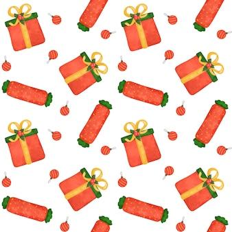 크리스마스 선물, 사탕 지팡이 디지털 종이, 과자 원활한 패턴, 빨간색 포장지, 배경