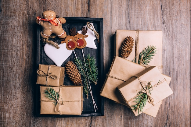 Christmas gifts in crate