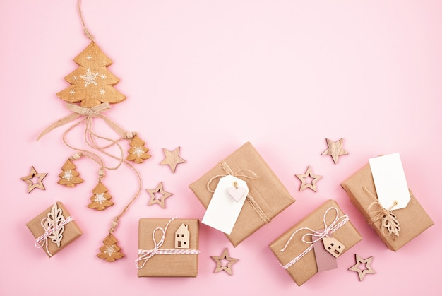 Christmas gifts and decoration in pastel colors