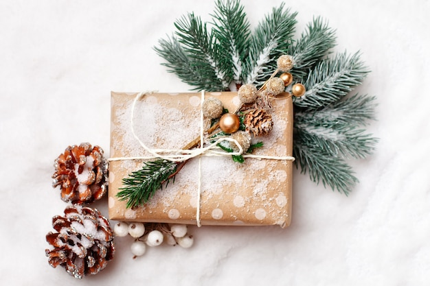 Christmas gifts on light background