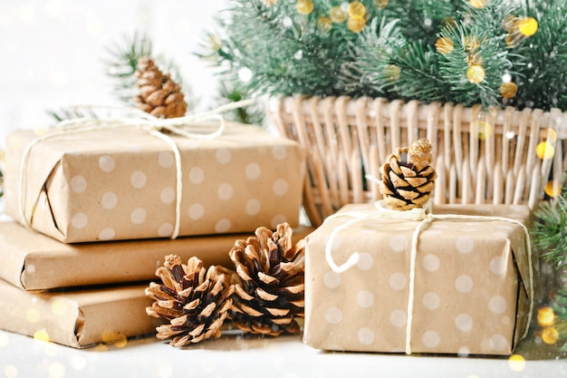Christmas gifts on light background.