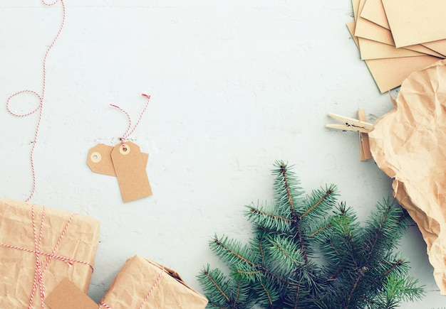 Christmas gifts, paper tags and christmas tree