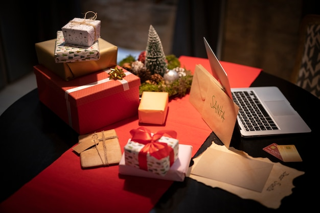 Christmas gifts and presents on table