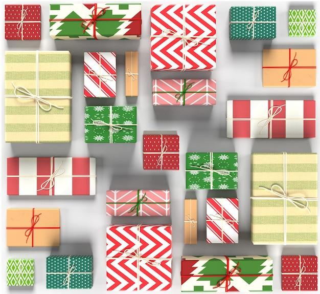 Рождественские подарки бесшовные модели на белом фоне