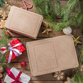 Christmas gifts with tree branches
