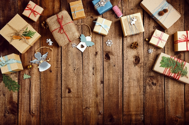 Christmas gifts on a wooden table.  zero waste holidays.
