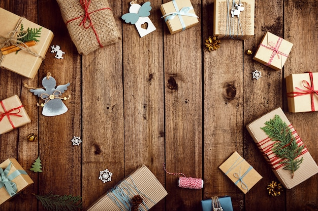 Christmas gifts on a wooden table
