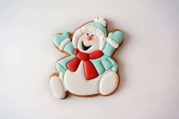 Christmas ginger cookie snowman figurine sugar glazed